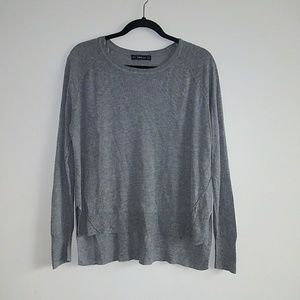 Zara Basic Gray Sweater sz XL Hi lo Long Sleeve